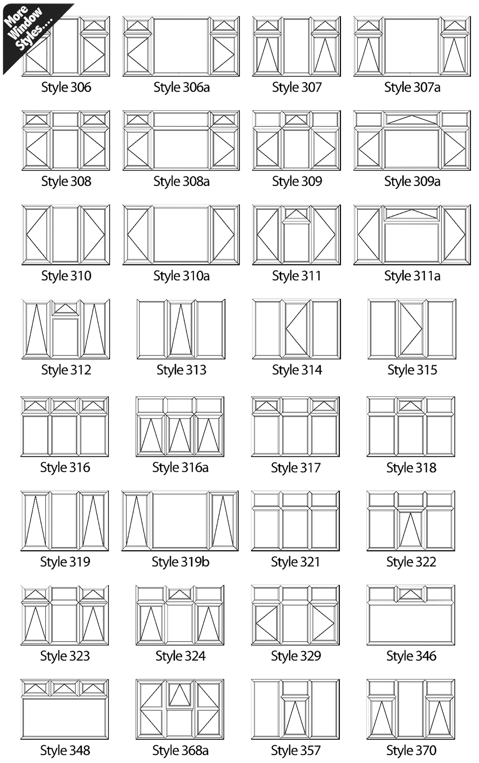 Images below show the variety of window styles available. Featuring  different opening types.