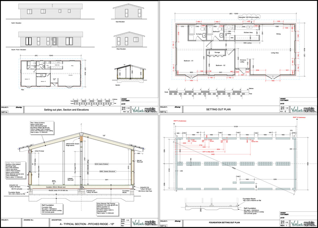 Plan Section Elevation Examples : Planning permission drawings value mobile homes
